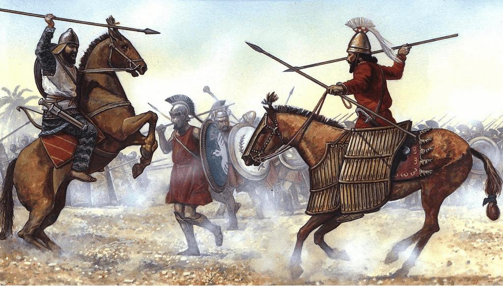 Batalla de Cunaxa 401 AC (1). Enfrentamiento entre un jinete babilonio (a la izquierda ) y un jinete de la guardia de Ciro el joven ( a la derecha ) al fondo se puede ver, a los griegos de la infantería mercenaria. Autor R. Collins