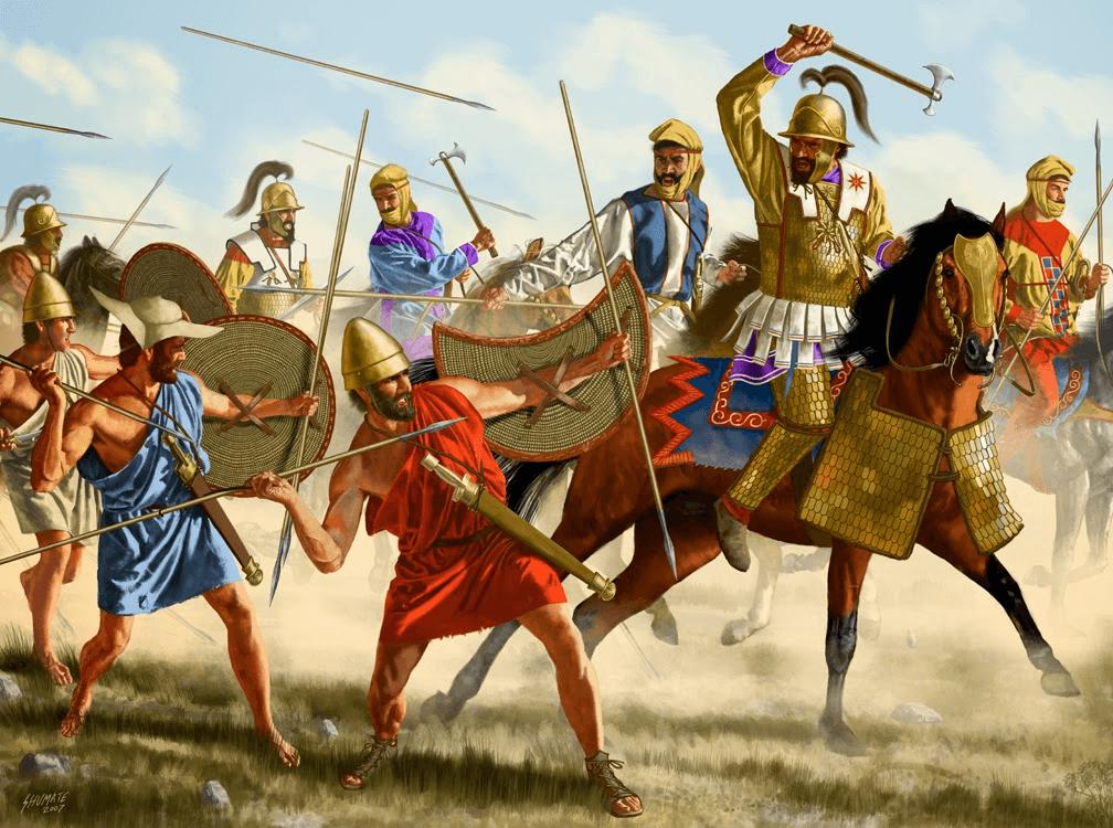 Batalla de Cunaxa 401 AC. La caballería pesada de Tisafernes penetrando en el ala derecha griega ocupada por los peltastas. Autor Johnny Shumate.