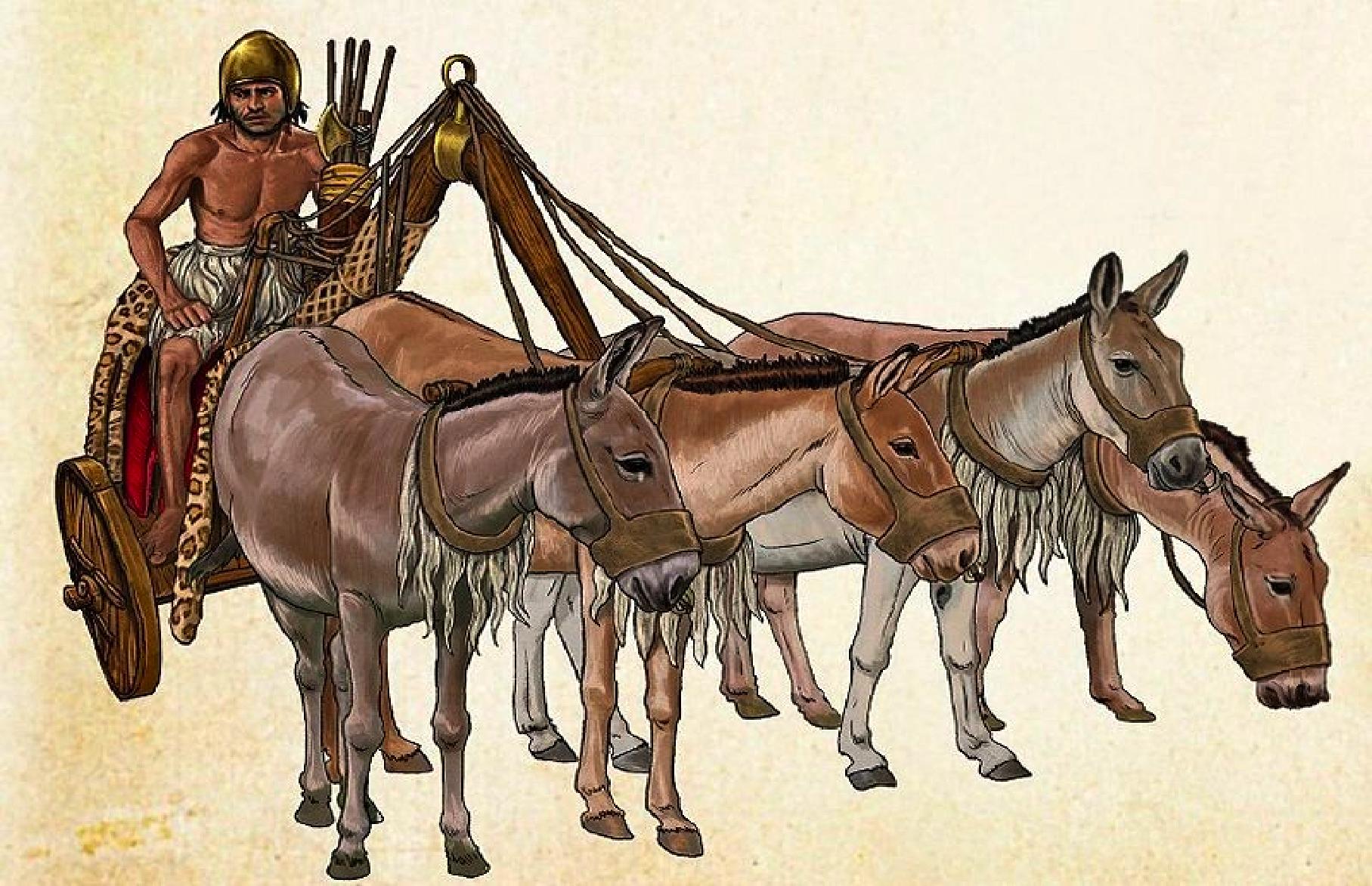 Carro de guerra sumerio de dos ruedas