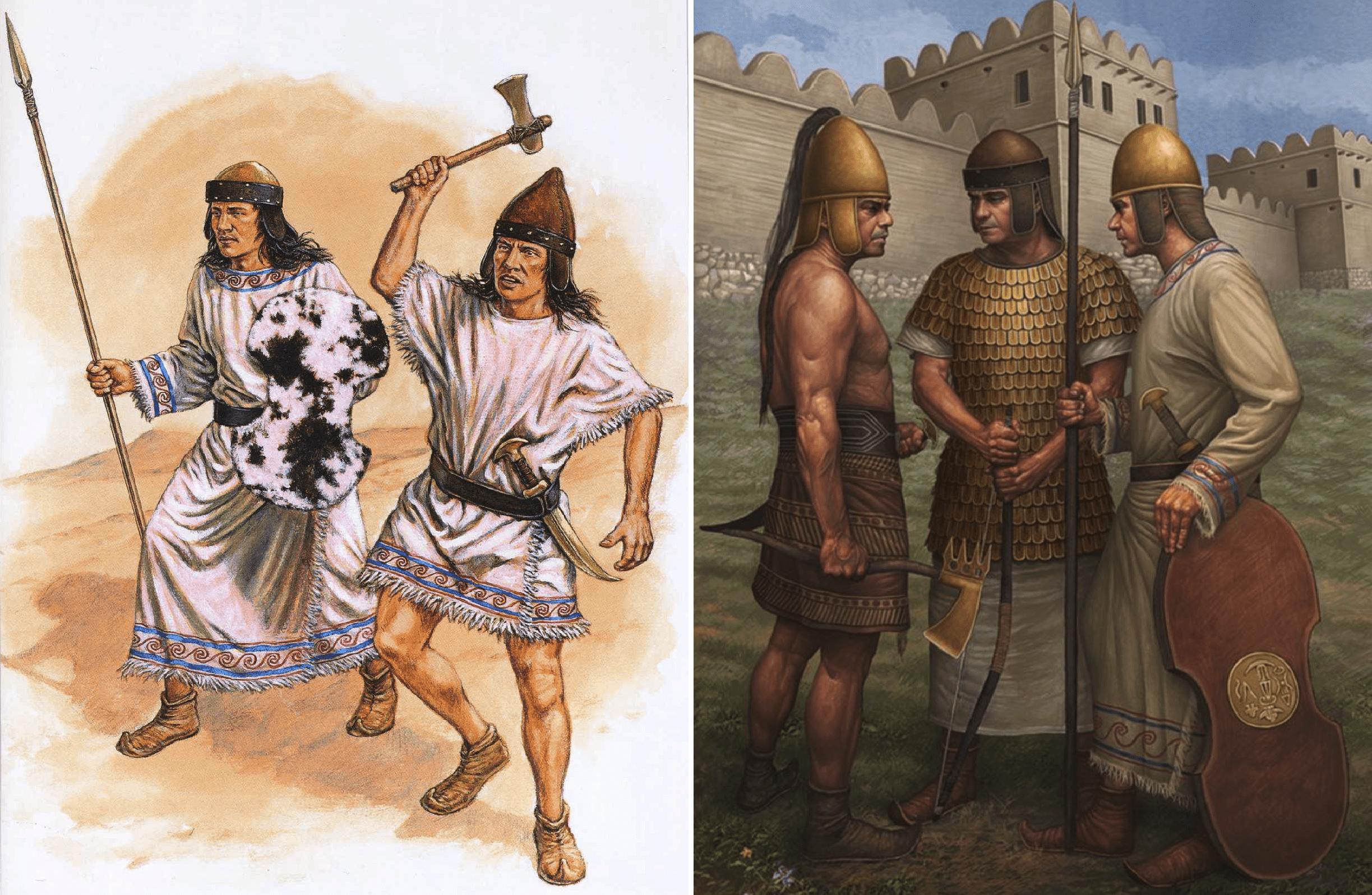 Guerreros hititas. Se puede apreciar los distintos armamentos y escudos usados por los hititas