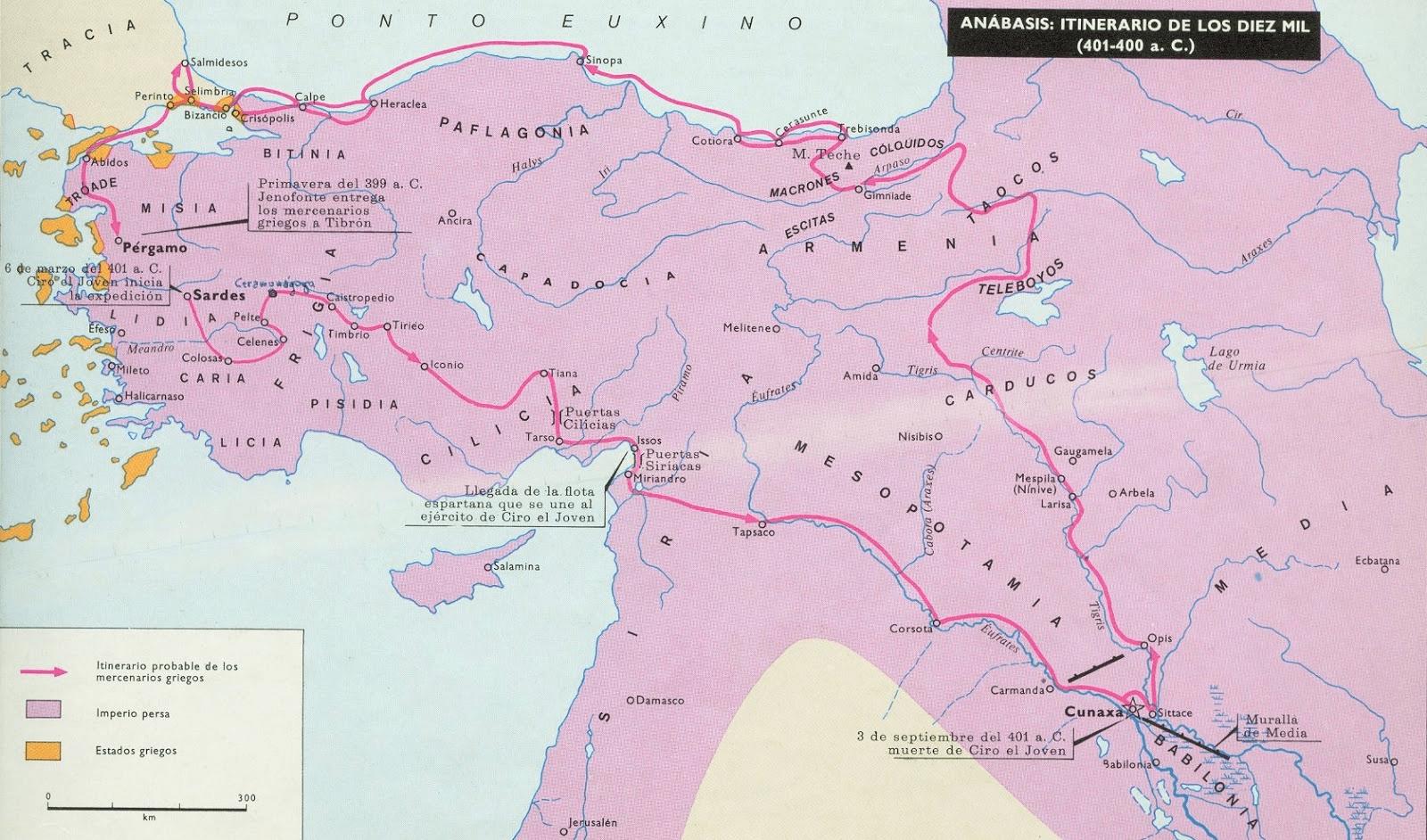Itinerario seguido por los Diez Mil, según el Anabasis 401-400 AC