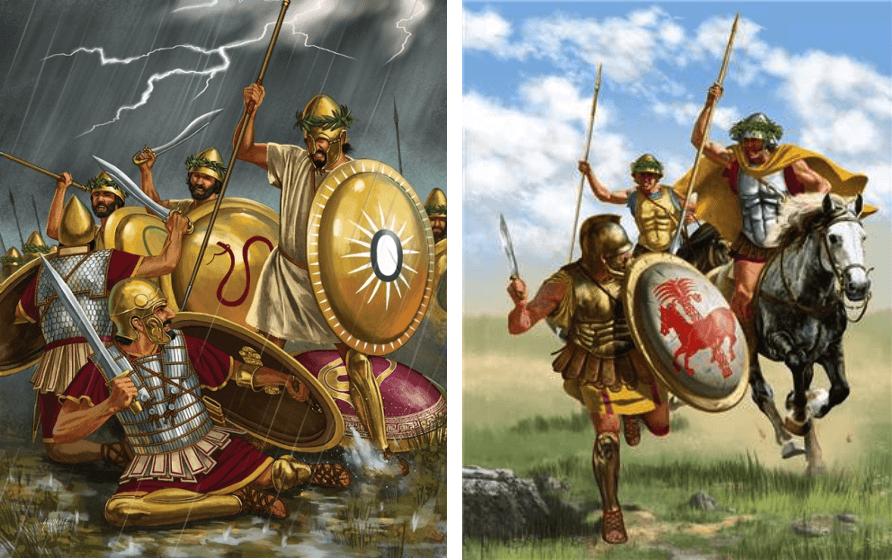 Batalla de Crimiso 339 AC (1), a la izquierda los griegos derrotando a los púnicos durante la tormenta, a la derecha persecución de la caballería griega después de la batalla. Autor Johnny Shumate