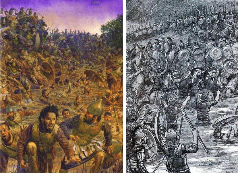 Batalla de Crimiso 339 AC. A la izquierda Steve Noon, a la derecha grabado
