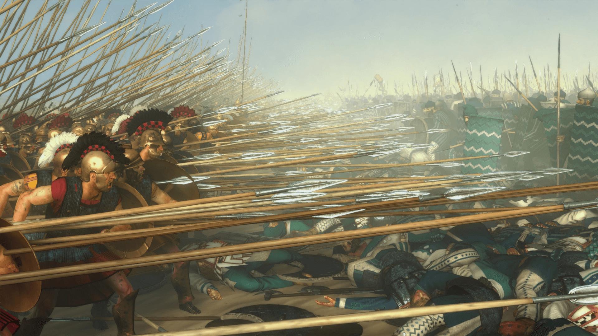 Batalla de Gaugámela 331 AC carga de la falange. Juego Total War