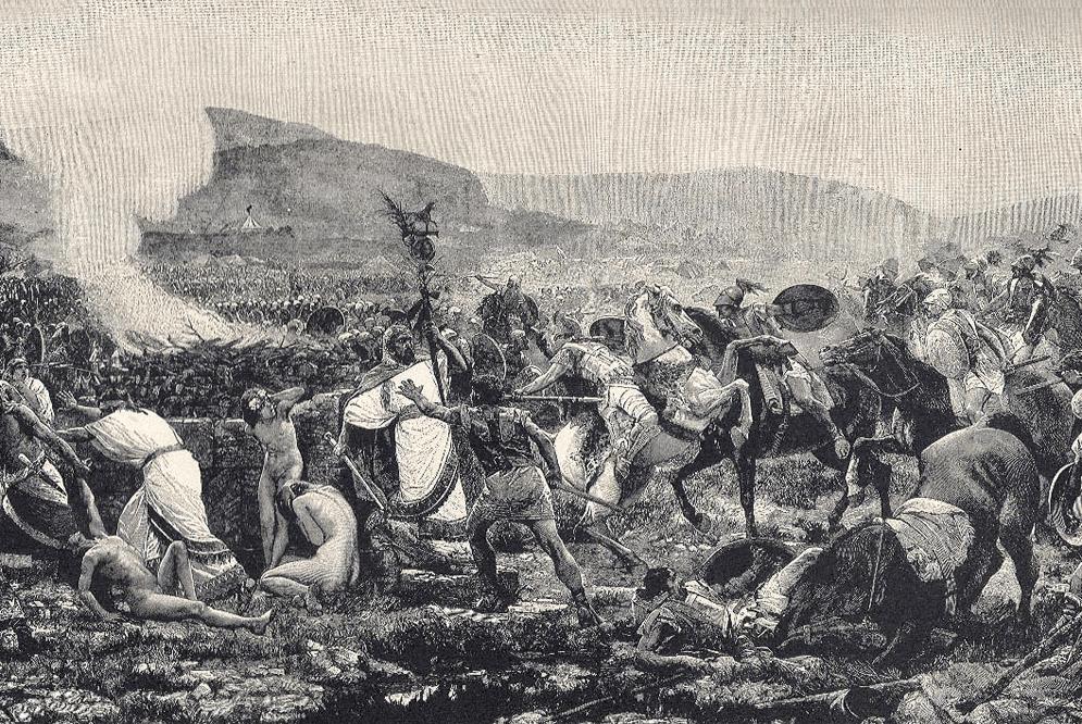 Batalla de Himera 480 AC, la caballería de Seleunte atacando el campamento púnico