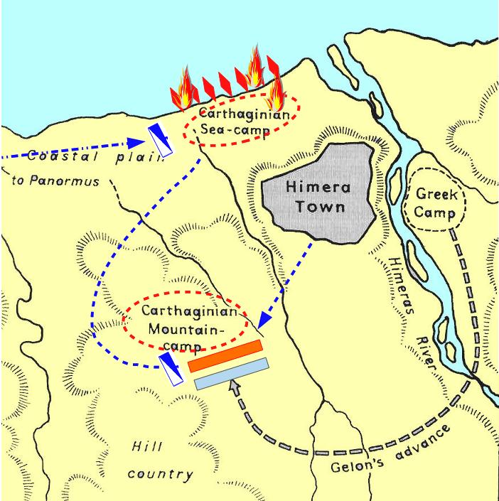 Batalla de Himera 480 AC, movimientos previos