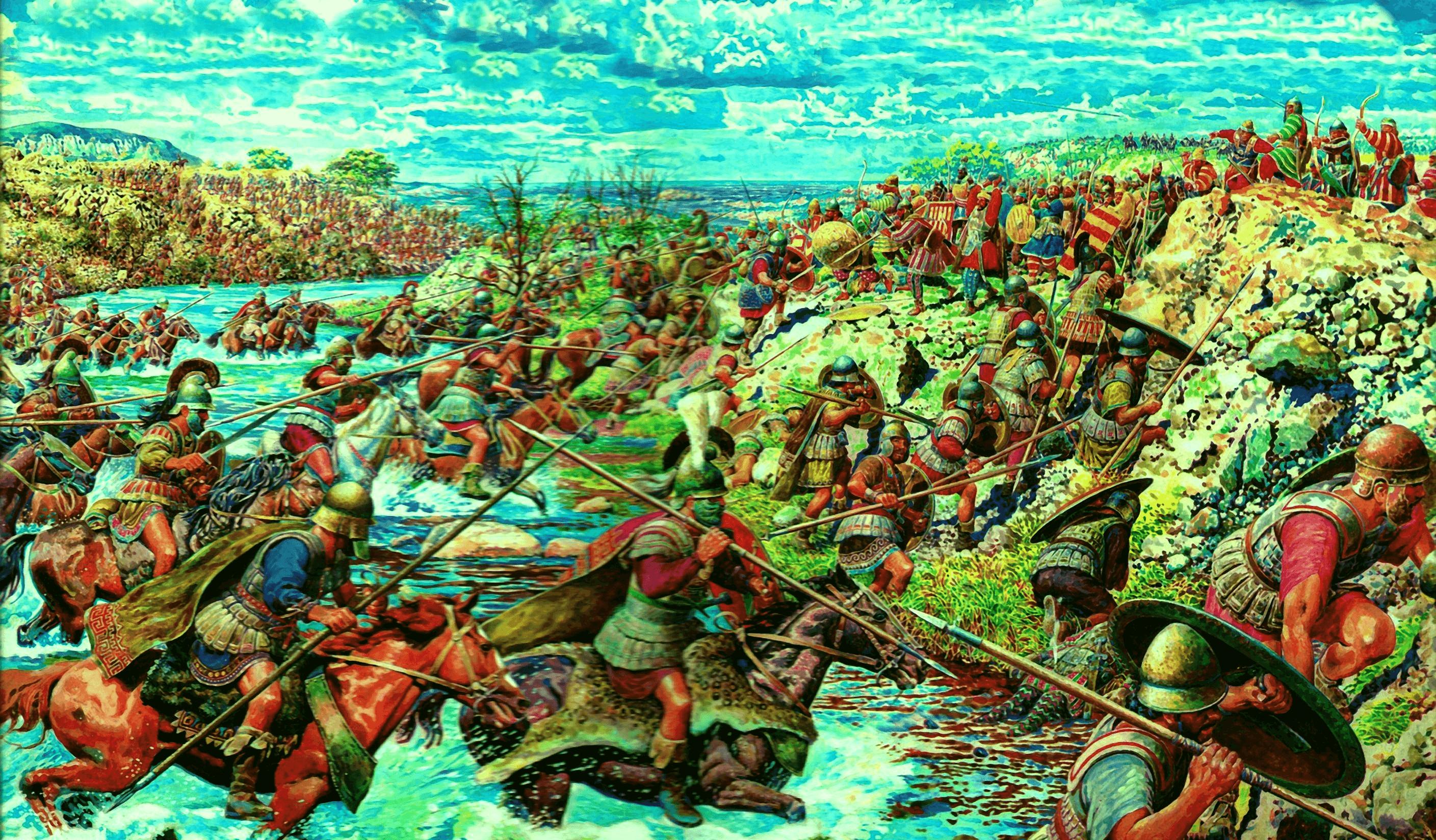 Batalla de Issos 333 AC. Los macedonios cruzando el río Pinaro.