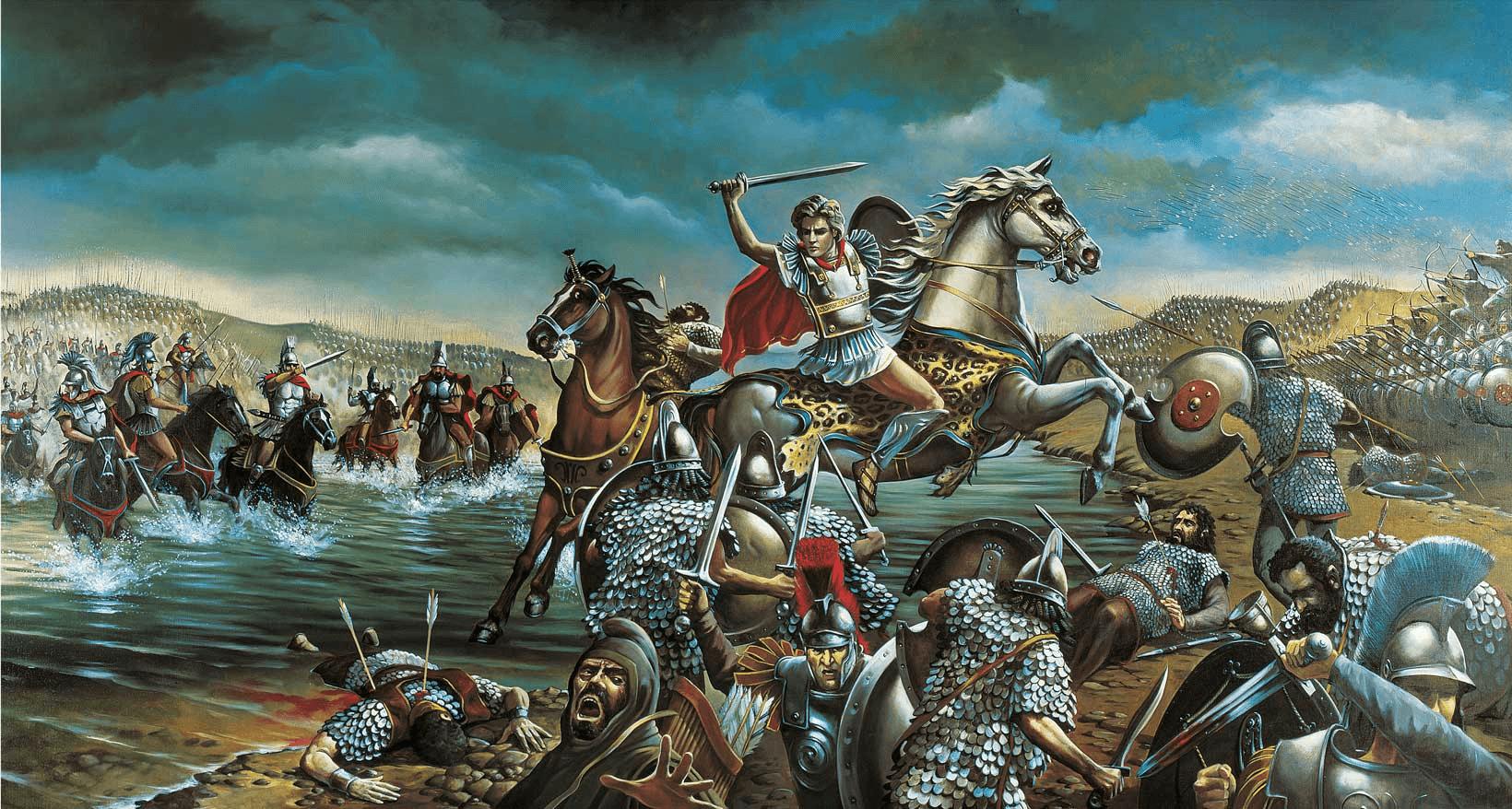 Batalla de Issos: Alejandro cruzando el rio