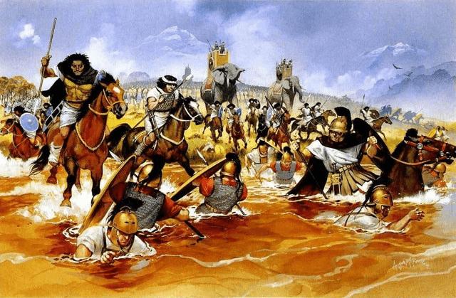 Batalla de Trebia 218 AC. La caballería púnica persigue a los romanos que cruzan el río. Autor Angus Mcbride