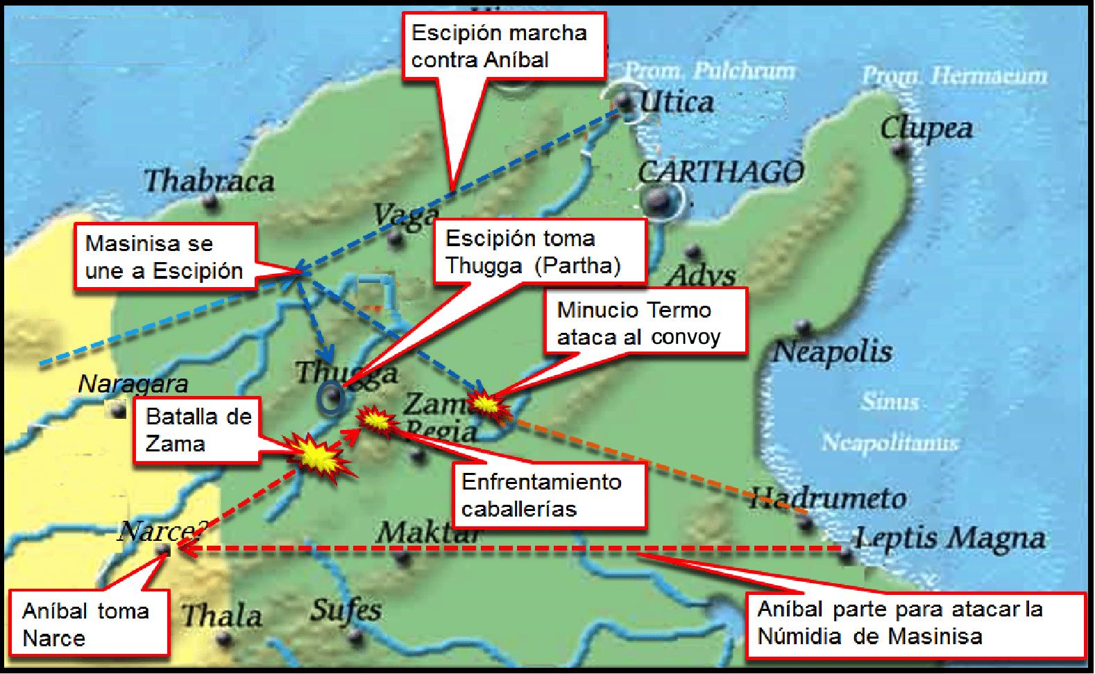 Batalla de Zama: Movimientos previos