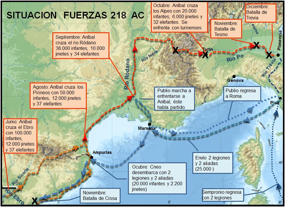 Marcha de Aníbal a Italia en el 218 AC, así como los movimientos de los romanos