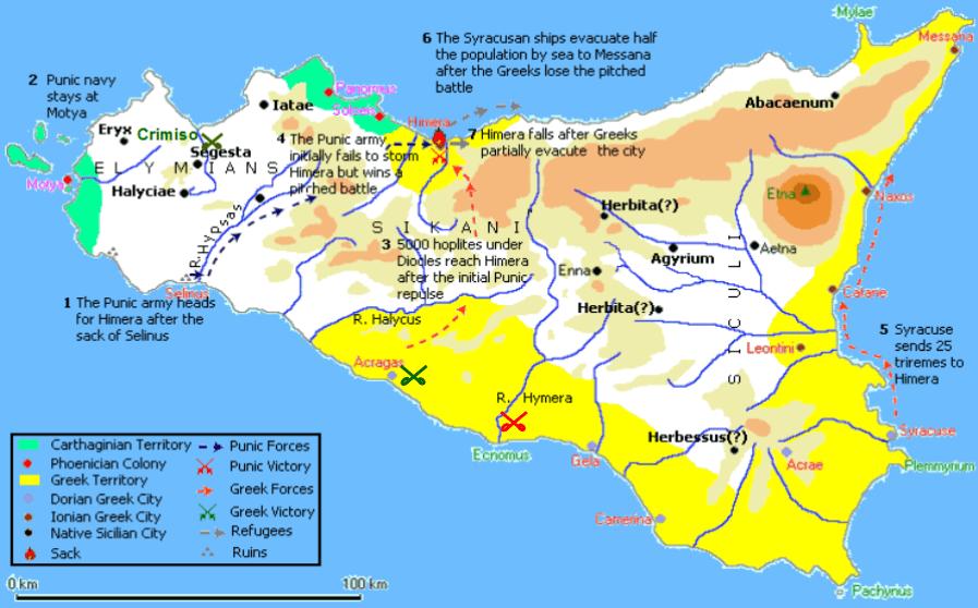 Segunda batalla de Himera 409 AC, movimientos de fuerzas