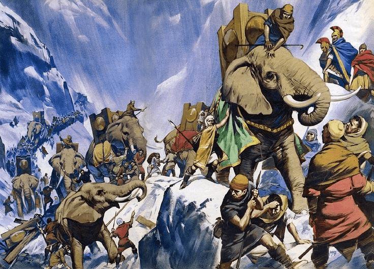 Asdrúbal Barca cruzando los Alpes en el 207 AC, tardó tan solo dos meses en vez de cinco como su hermano Aníbal