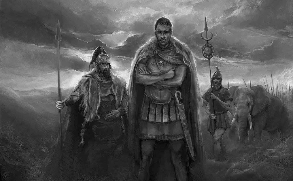 Batalla de Metauro 207 AC Asdrubal buscando un vado. Durante la noche saca a su ejército del campamento sin que los romanos se den cuenta y subusca un vado para cruzar el río. Autor Jenny Dolfen