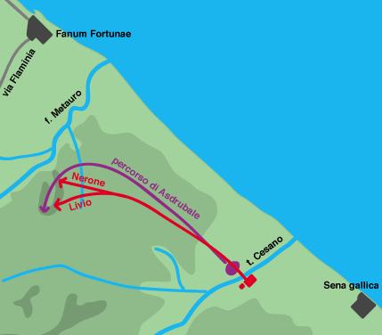 Batalla de Metauro 207 AC. Movimientos previos