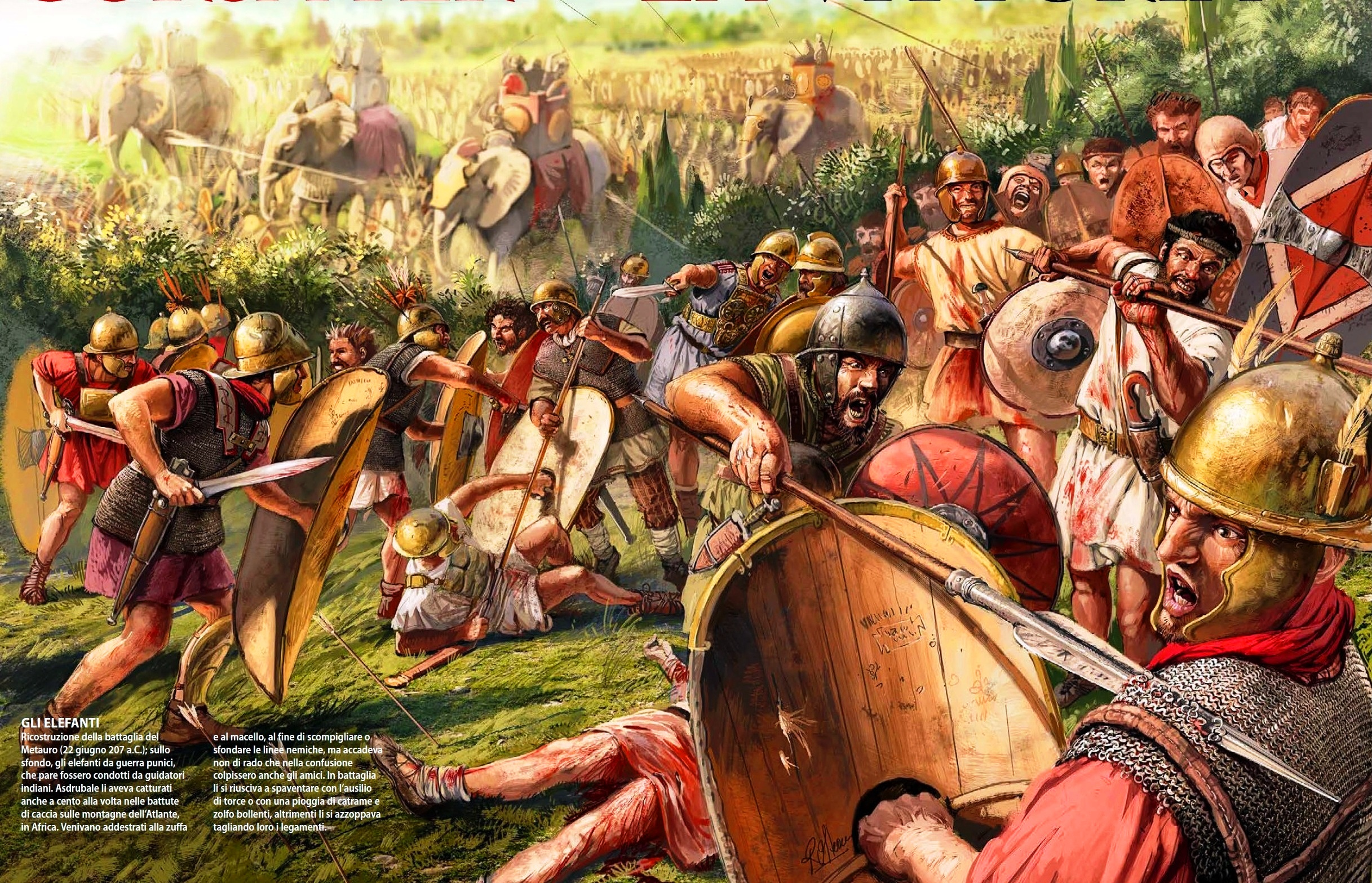 Batalla de Metauro 207 AC. Entre el ejercito romano mandado por Libio Salinator y el ejército púnico mandado por Asdrúbal Barca. Autor Radu Oltean