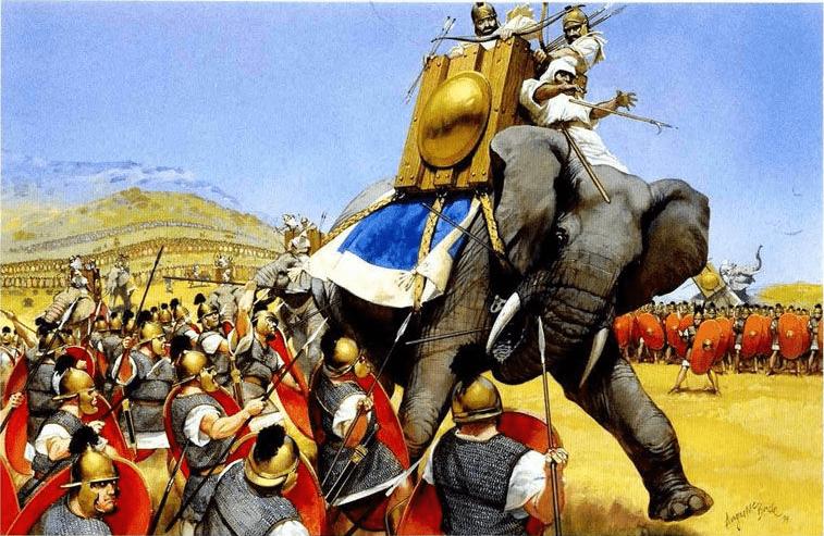 Batalla de Zama 202 AC (2). Romanos atacando a los elefantes. Autor Angus McBride