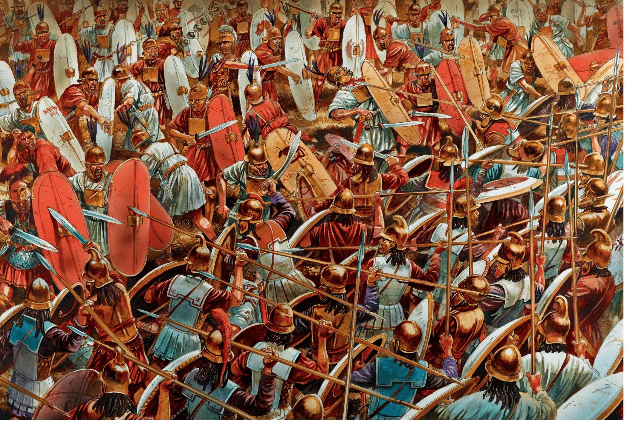 Batalla de Zama 202 AC (6). Choque entre príncipes y la segunda línea de Aníbal, compuesta por ciudadanos cartagineses y libios, que resultaron fácilmente derrotados por los legionarios. Autor Peter Dennis.