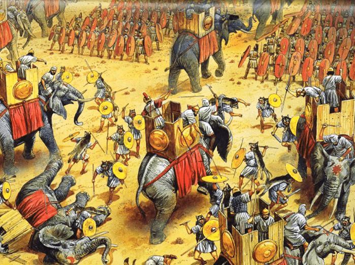 Batalla de Zama 202 AC. Carga de los elefantes de Aníbal que son atacados por los vélites romanos, unos pasan entre las filas romanas sin causar daño, otros son muertos y otros retroceden contra las lineas púnicas. Autor Peter Dennis