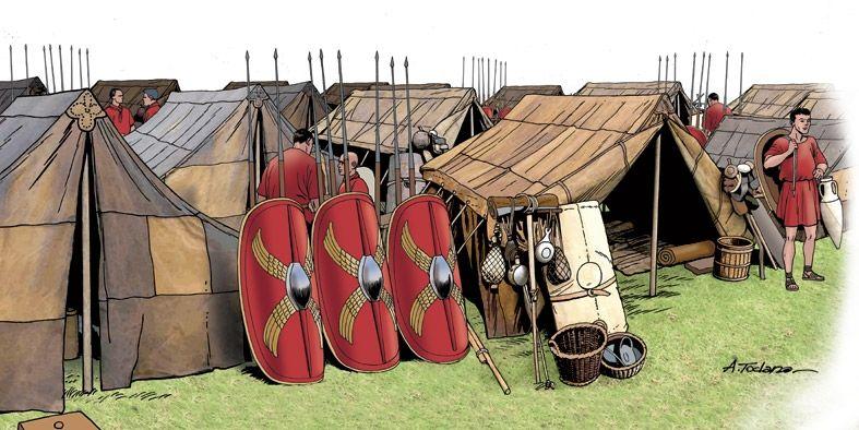 Campamento romano. Se ve las tiendas de 8 legionarios llamadas contubernium. Autor Ángel Todaro