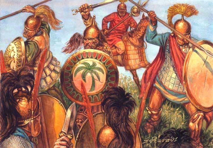 Cartagineses luchando contra romanos. Autor Giuseppe Rava