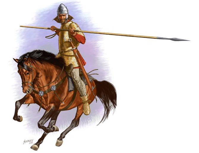 Lancero sármata. Maneja la lanza o kontos con ambas manos, lleva espada larga de anillo, y una armadura de escamas, el caballo lleva una montura de cuernos, pecho-petral con discos de adorno y la marca o tamga en el hombro. Autor Johnny Shumate