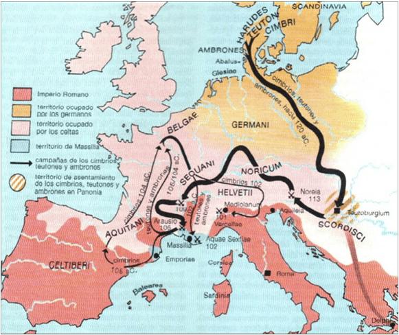 Movimientos de címbrios y teutones desde el 120 al 100 AC