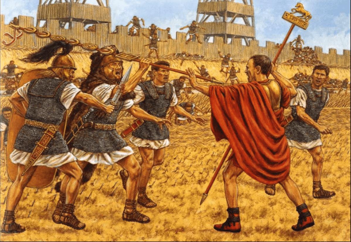 Batalla de Dirraquio o Dyrraquium 48 AC. En la mañana del 9 de julio, Pompeyo realizó un contaataque contra las fuerzas de Cesar, poniéndolas en fuga, Cesar trata de frenar la huida, pero los soldados habían abandonado el escudo y armamento, y no pudo convencerles a pesar de no llevar el yelmo para que le reconocieran. Autor Adam Hook