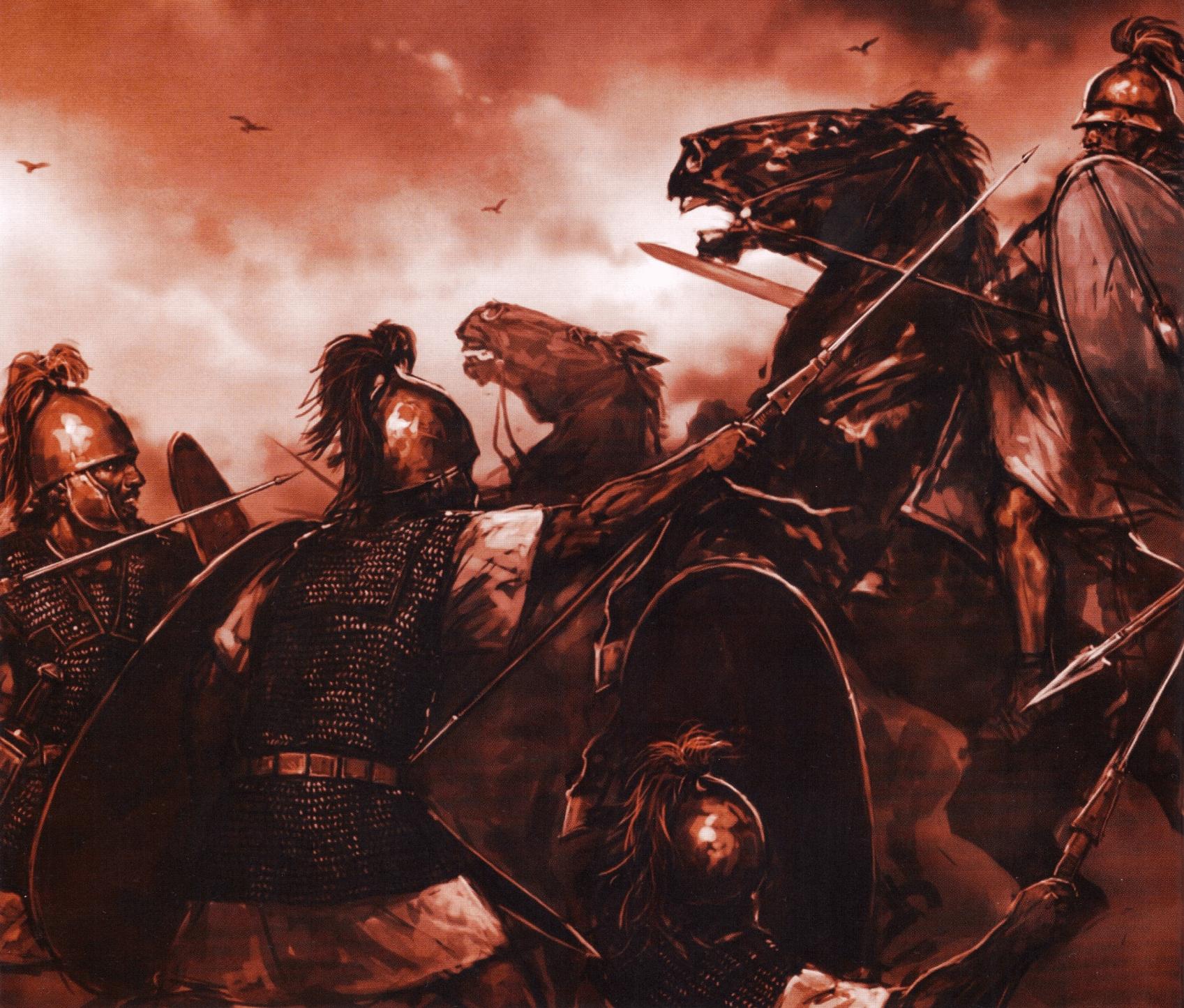 Batalla de Farsalia 48 AC. Los legionarios de las cohortes de reserva de Cesar atacan a la caballería de Pompeyo. Autor Ganbat Badamkhand