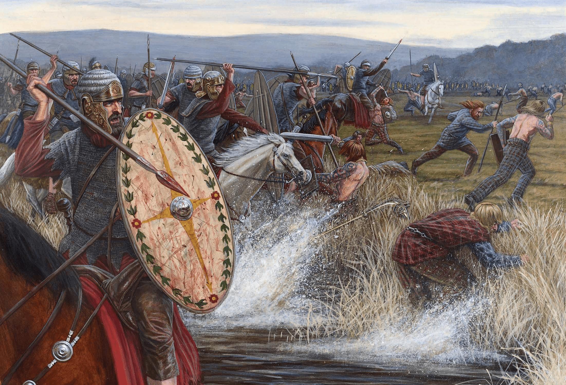 Batalla del monte Graupio año 83. La caballería romana persiguiendo a los caledonios. Autor Sean O´Brogain