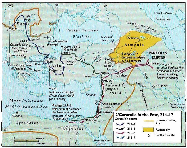 Campaña de Caracalla contra los Partos. Siguió el mismo camino que Alejandro Magno