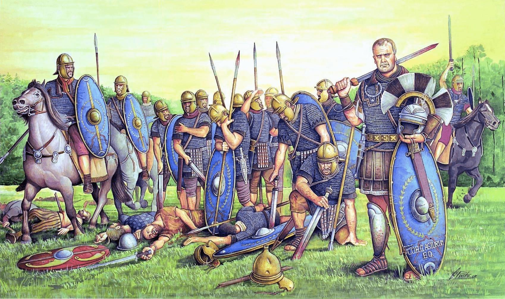 Cohorte equitata II Asturum en Britania año 48. Los soldados se reunen después de la lucha, en el primer plano a la derecha se ve a un centurión. Autor Ángel García Pinto