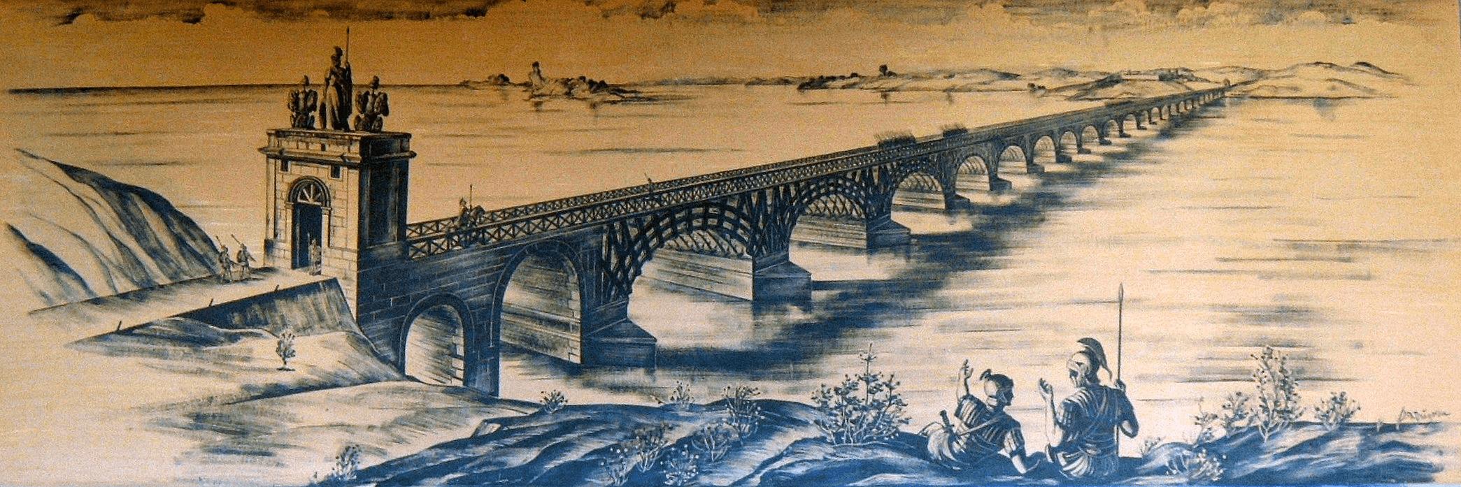 Puente construido por Apolodoro de Damasco sobre el Danubio entre Kladovo (Servia) y Drobeta (Rumania)