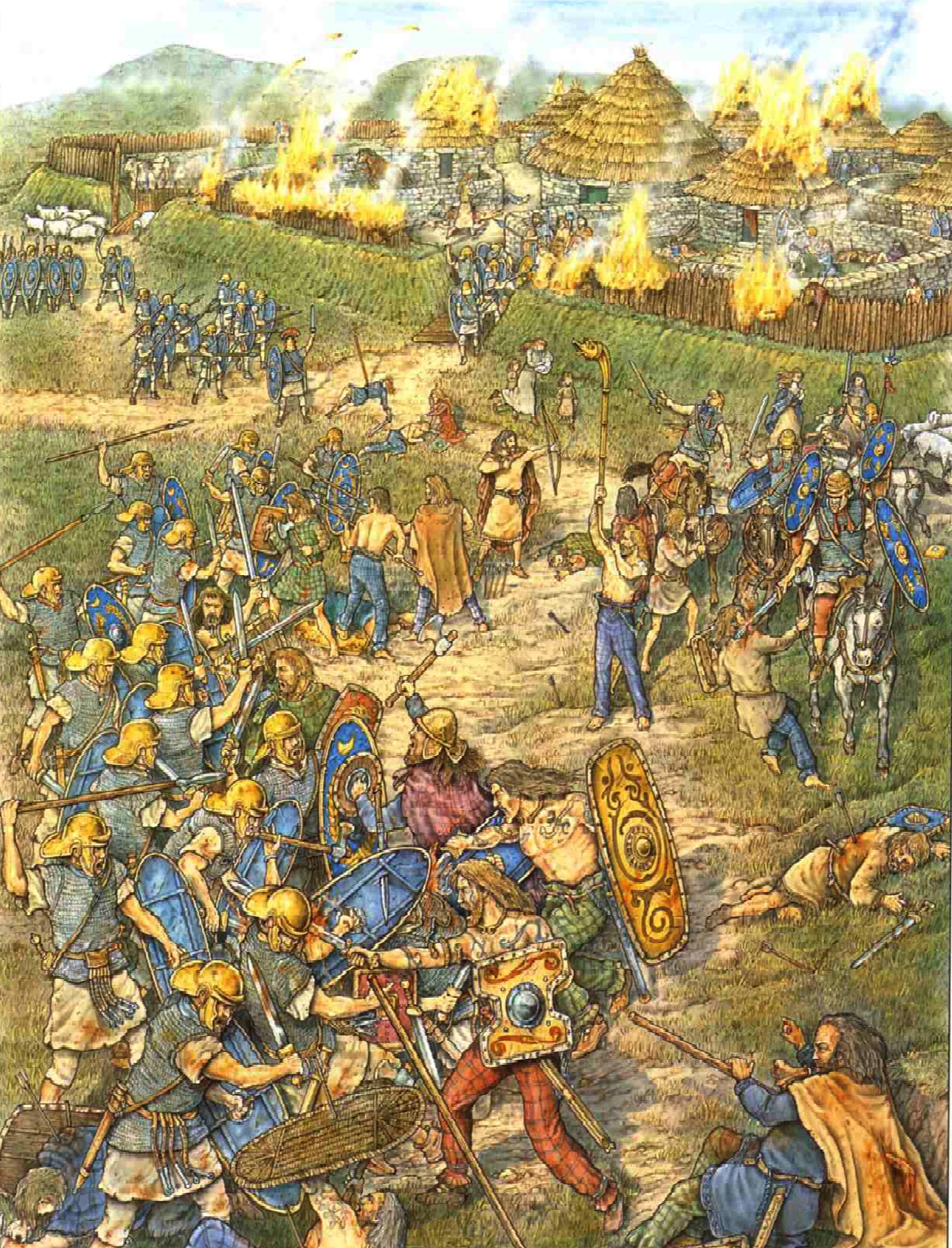 Raid punitivo contra un poblado caledonio por la cohorte quingenaria equitata III Galorum durante el reinado de Marco Aurelio (161-180). Autor D & Spedaliere