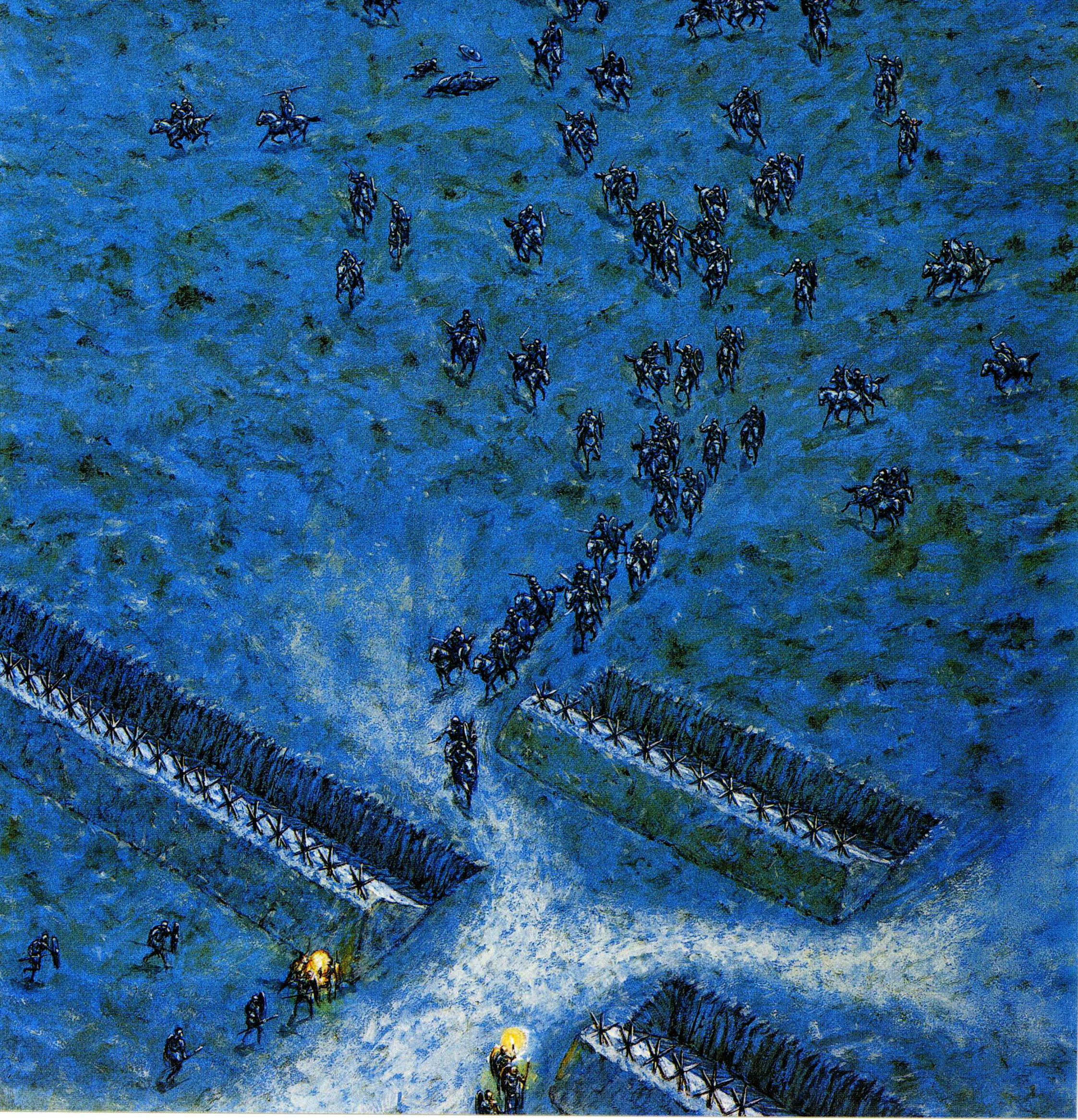 Segunda batalla de Bedriacum o de Cremona 24/25 octubre. La caballería vespasiana en un imprudente ataque es rechazada y puesta en fuga por la caballería viteliana, intentando acogerse a su campamento, la infantería vespasiana sale y da comienzo la batalla. Autor Adam Hook