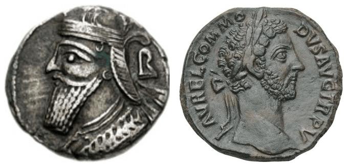 Vologases IV y Marco Aurelio. A la izquierda moneda de Vologases IV rey de Partia (147-191) y moneda de Marco Aurelio emperador de Roma (169-180)