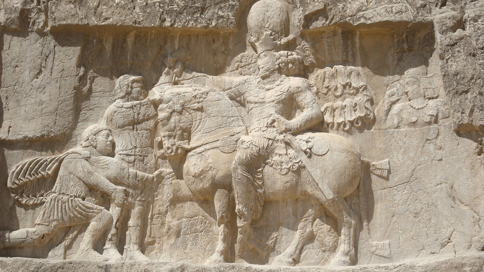 Filipo el Árabe humillándose delante de Sapor I. Relieve de Naqsh- e Rostam