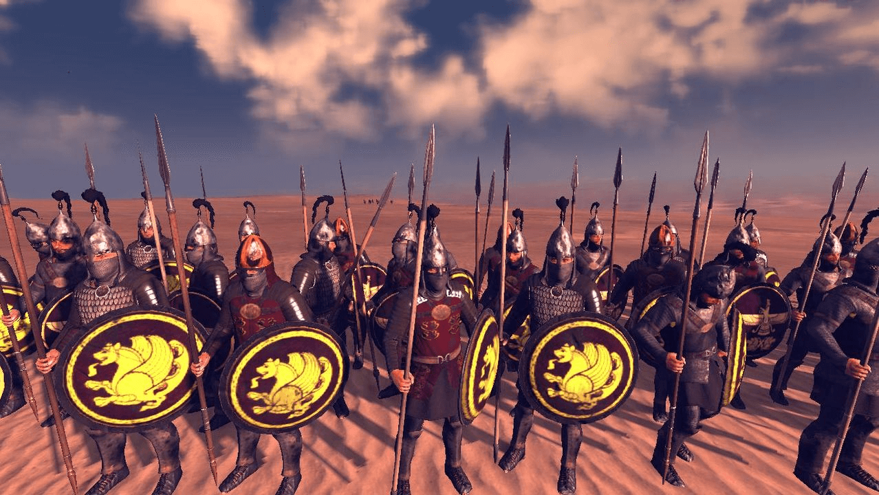 Infantería pesada sasánida, iban equipados de forma similar a los savarán