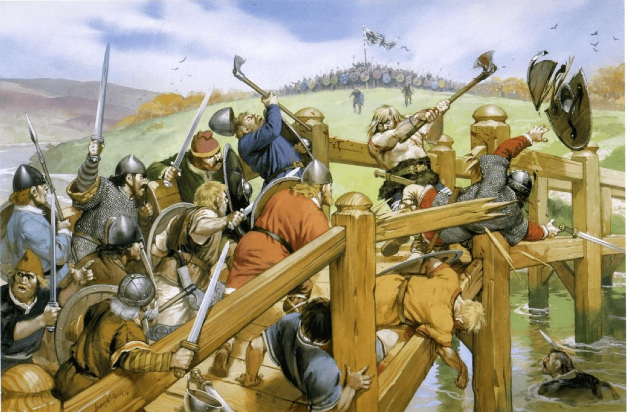 Batalla de Stamford Bridge: Lucha en el puente. Autor Angus McBride para Osprey