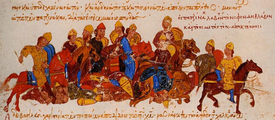 Pechenegos matando a Sviatoslav I de Kiev y sus hombres. Fuente Cronica de Juan Skylitzes