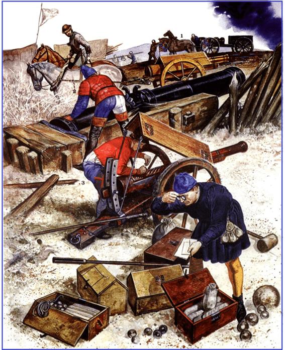 Artilleria borgoñona 1470. 1 transporte de un Veuglaire, 2 maestro artillero con una bombarda rebentada. 3 artillero con una serpentina