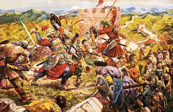 Asalto mongol contra la Gran Muralla de China. Autor Cecil Langley Doughty