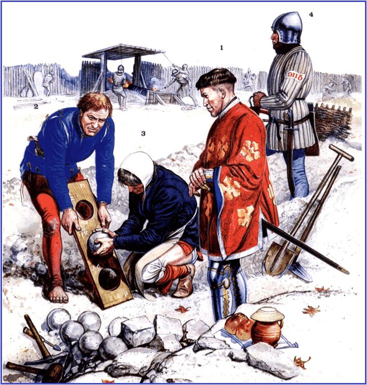 Asedio de Vellexon 1409-10. artillería borgoñona 1.-Jean de Vergy mariscal Borgoña, 2 picapedrero, 3 artillero, 4 ballestero montando guardia. Observar como el mantelete está levantado para dispara la bombarda. Autor Gerry Embleton