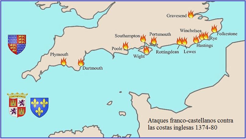 Principalesataques contraInglaterrade flotas conjuntasfranco–castellanas, comandadas por los almirantesFernando Sánchez de TovaryJean de Vienne, entre 1.374 y 1.380
