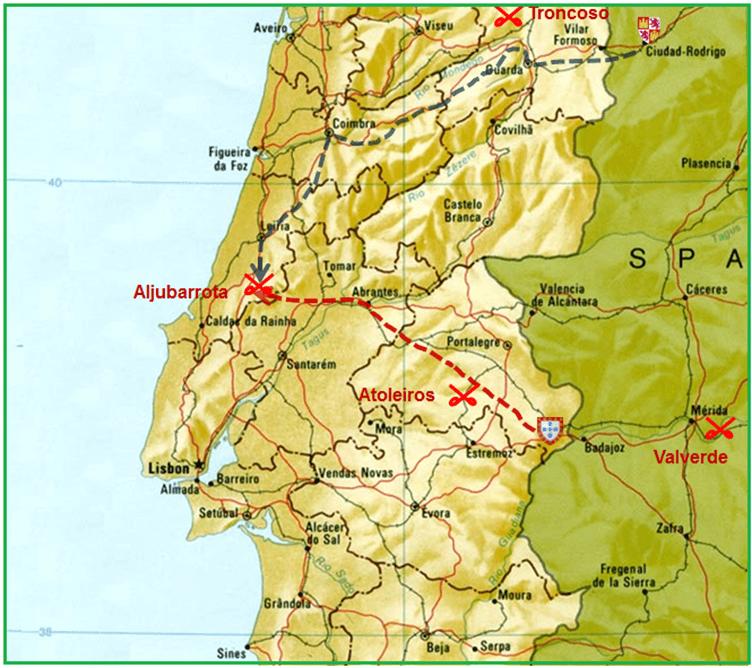 Batalla de Aljubarrota 1.385. Movimientos previos a la batalla