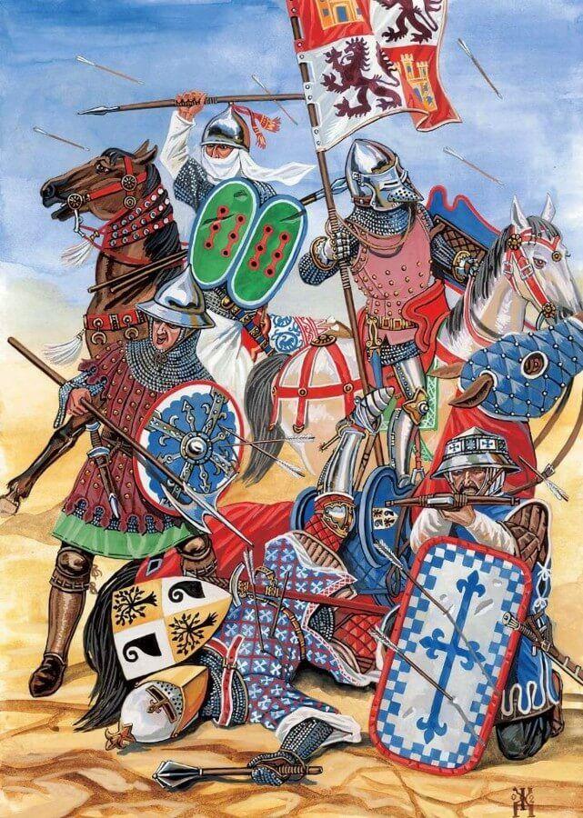 Batalla de Aljubarrota 1385 ejército castellano: se puede ver portaestandarte, jinete ligero, infante, jinete pesado y ballestero. Autor Cabrera Nieto