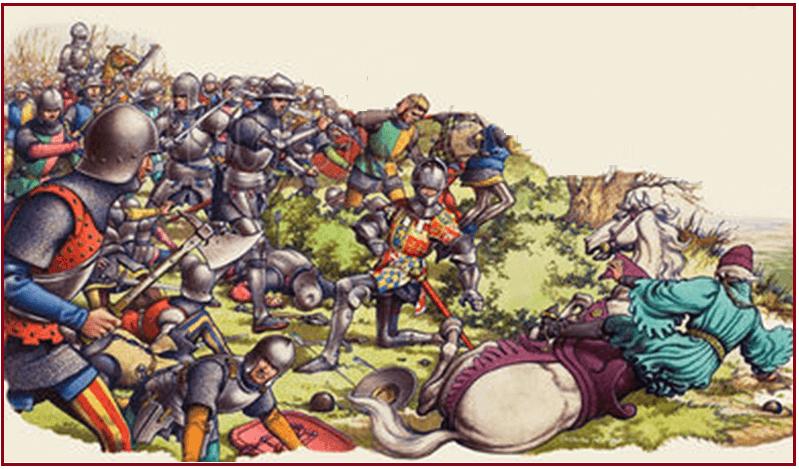 Batalla de Castillon 1453 muerte de John Talbot, conde de Shrewsbury y su hijo al intentar defenderlo. Autor Pattt Nicolle