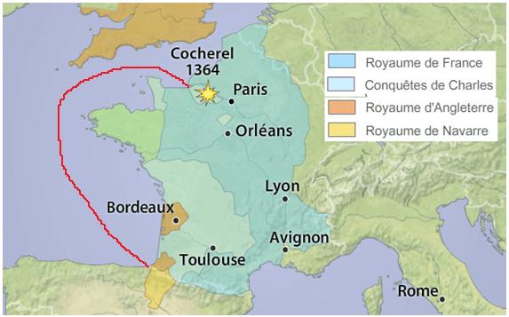 Batalla de Cocherel 1364. Situación y movimientos