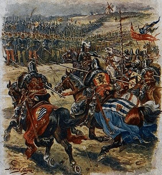 Batalla de Crecy 1346. El conde de Alesón cargando contra el príncipe Negro. Autor Harry Payme