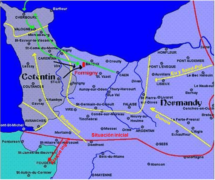 Batalla de Formigny 1450 movimientos previos: rojo frente inglés en 1.449 así como ofensiva inglesa contra Fougères; en amarillo contraataques franceses siguiendo tres ejes y frente final; en verde desembarco inglés y refuerzo s hacia Bayeux y Caen; en negro contraataques franceses a partir de e Coutances, Carentan et Saint-Lô y su unión en Formigny